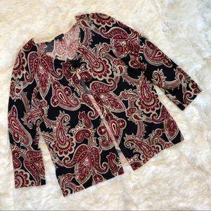 Talbots 3/4 length sleeve cardigan black & red Lg